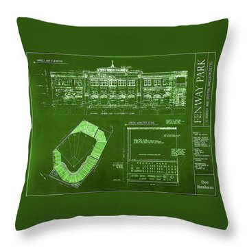 Fenway Park Blueprints Home Of Baseball Team Boston Red Sox Throw Pillow
