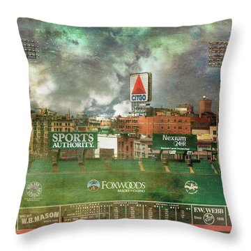 Throw Pillow featuring the photograph Fenway Park Green Monster And Citgo Sign by Joann Vitali