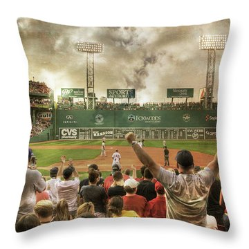 Throw Pillow featuring the photograph Fenway Park Green Monster by Joann Vitali