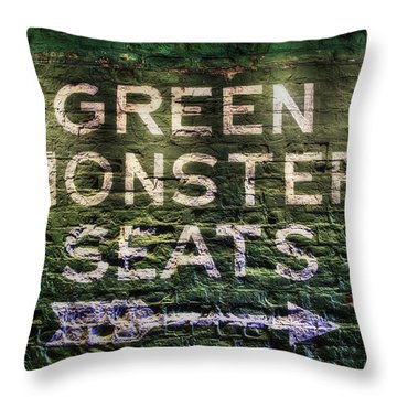 Throw Pillow featuring the photograph Fenway Park Green Monster Seats by Joann Vitali