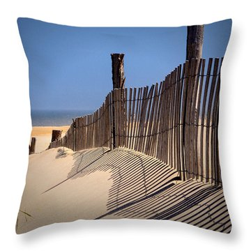 Fenwick Dune Fence And Shadows Throw Pillow
