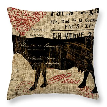 Ferme Farm Cow Throw Pillow
