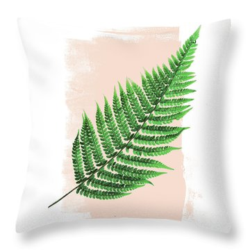 Fern Leaf On Pink Throw Pillow