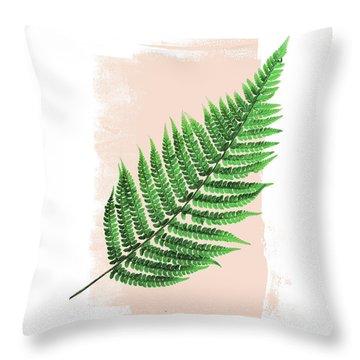 Fern Leaf On Pink Throw Pillow