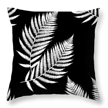 Throw Pillow featuring the mixed media Fern Pattern Black And White by Christina Rollo