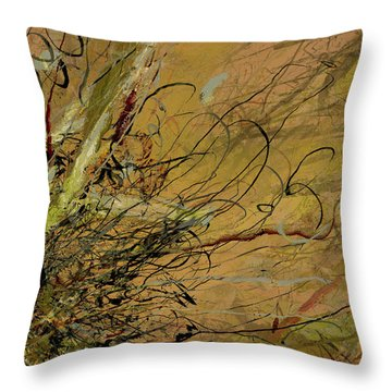 Fern Series Ping To Gray Tendril Detail Throw Pillow