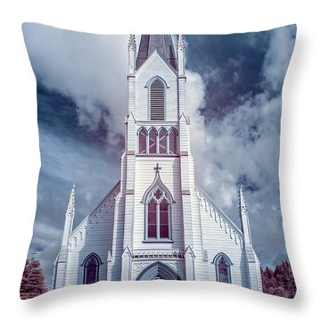 Ferndale Church In Infrared Throw Pillow by Greg Nyquist
