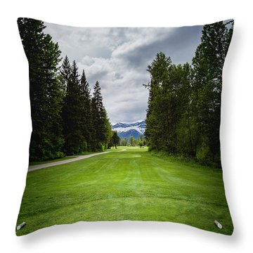 Throw Pillow featuring the photograph Fernie Tee Box by Darcy Michaelchuk