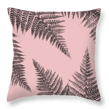 Ferns On Blush Throw Pillow