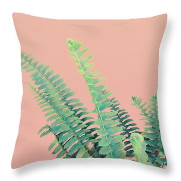 Ferns On Pink Throw Pillow
