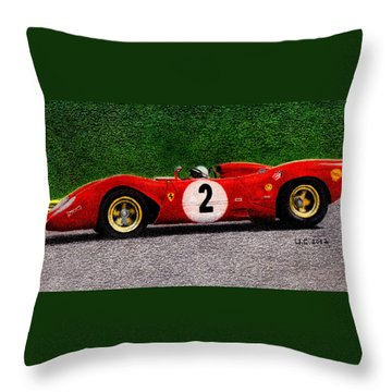 Ferrari 312p Pedro Rodriguez 1969 Throw Pillow by Ugo Capeto