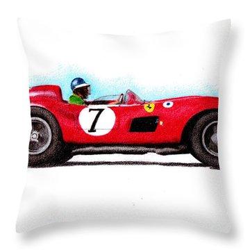 Ferrari 335s Mike Hawthorn 1957 Throw Pillow by Ugo Capeto