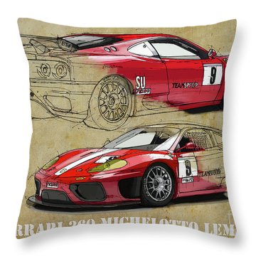 Ferrari 360 Michelotto Le Mans Race Car. Two Drawings One Print Throw Pillow