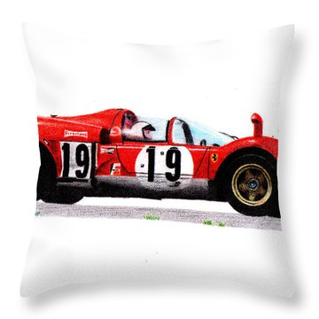 Ferrari 512s Mario Andretti 1970 Throw Pillow by Ugo Capeto