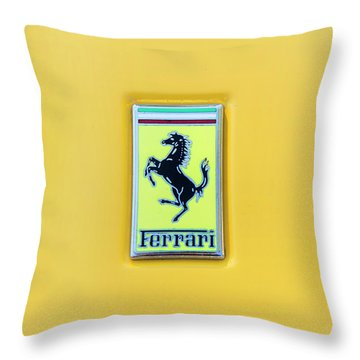 Throw Pillow featuring the photograph Ferrari Badge by Theresa Tahara