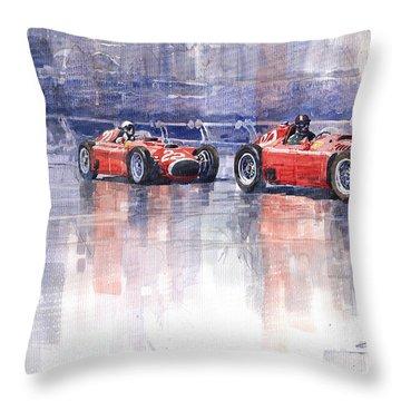 Ferrari D50 Monaco Gp 1956 Throw Pillow by Yuriy  Shevchuk