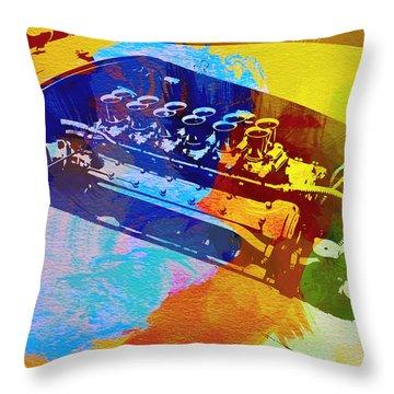 Ferrari Engine Watercolor Throw Pillow