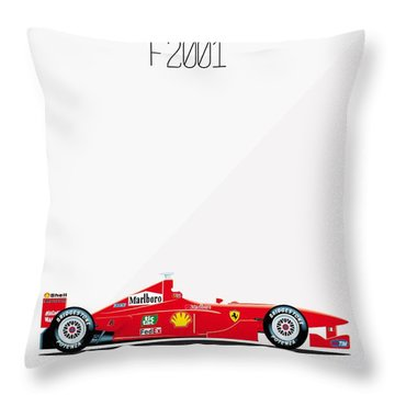 Ferrari F2001 F1 Poster Throw Pillow