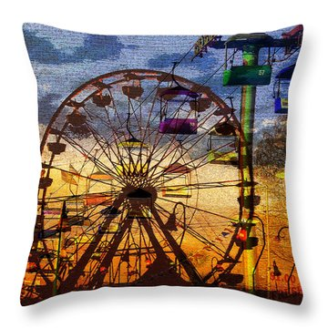 Throw Pillow featuring the digital art Ferris At Dusk by David Lee Thompson