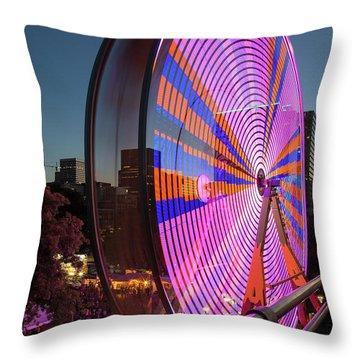 Ferris Wheel At Fun Fair In Downtown Portland Oregon Throw Pillow