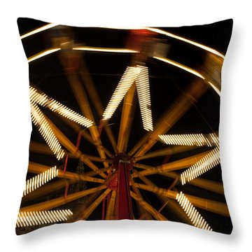 Ferris Wheel At Night Throw Pillow by Helen Northcott