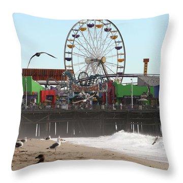 Ferris Wheel At Santa Monica Pier Throw Pillow