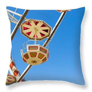 Throw Pillow featuring the photograph Ferris Wheel Cars In Toulouse by Semmick Photo