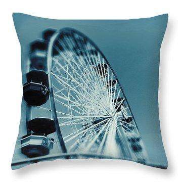 Throw Pillow featuring the photograph Blue Ferris Wheel by Douglas MooreZart