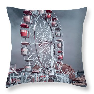 Ferris Wheel In Morning Throw Pillow by Greg Nyquist