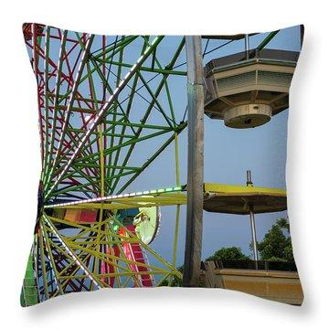 Ferris Wheel Lights At Dusk Closeup Throw Pillow