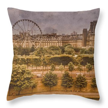 Paris, France - Ferris Wheel Throw Pillow