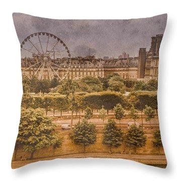 Paris, France - Ferris Wheel Throw Pillow