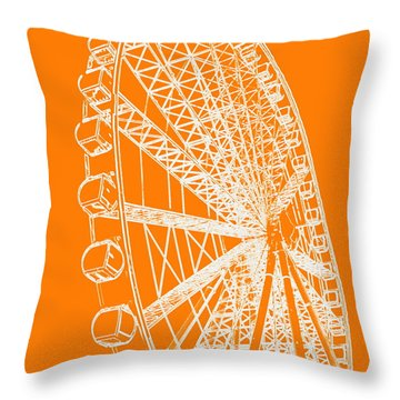 Ferris Wheel Silhouette Orange White Throw Pillow