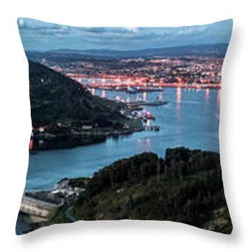 Ferrol's Estuary Panorama From La Bailadora Galicia Spain Throw Pillow