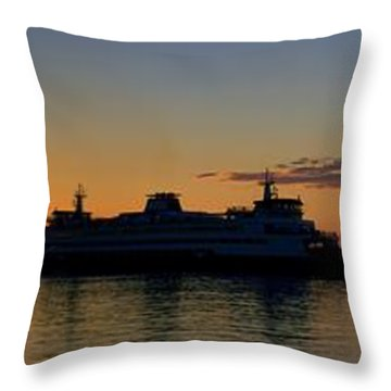 Ferry Boat Arrives To Mukilteo Ferry Terminal Throw Pillow