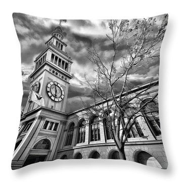 Ferry Building Black  White Throw Pillow