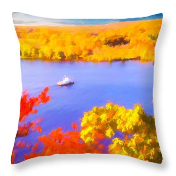 Ferry Crossing Connecticut River. Throw Pillow