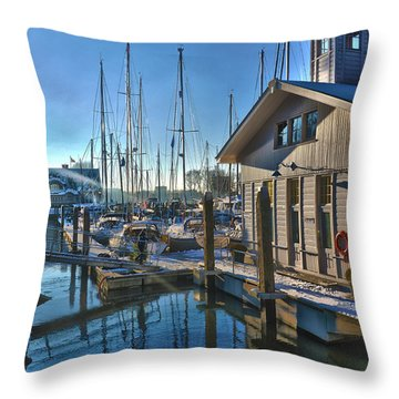Ferry Harbour In Winter Throw Pillow