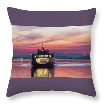 Ferry Issaquah Docking At Dawn Throw Pillow