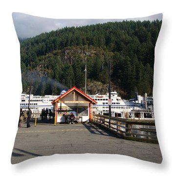 Ferry Landed At Horseshoe Bay Throw Pillow by Rod Jellison
