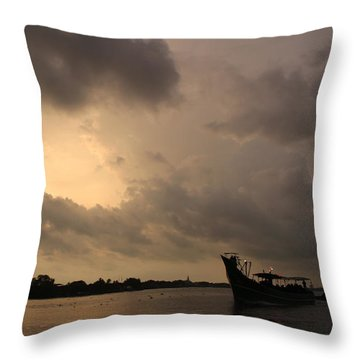 Ferry On The Way To Fort Kochi Throw Pillow