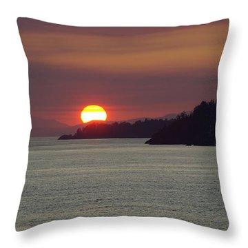 Ferry Sunset Throw Pillow