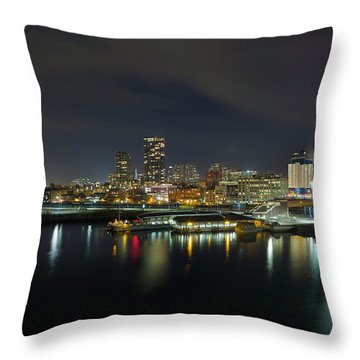 Ferry Terminal In Vancouver Bc At Night Throw Pillow