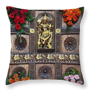 Festival Gopuram Gate Throw Pillow