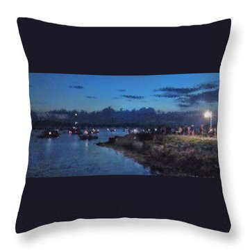 Throw Pillow featuring the photograph Festival Night Land And Shore by Felipe Adan Lerma