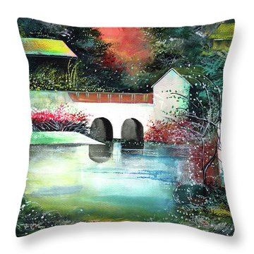 Throw Pillow featuring the painting Festival Of Lights by Anil Nene