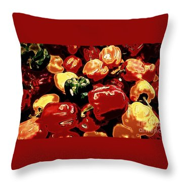 Festival Of Peppers Throw Pillow