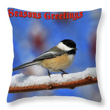 Throw Pillow featuring the photograph Festive Chickadee by Tony Beck