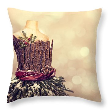 Festive Christmas Mannequin Throw Pillow