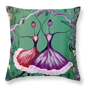 Throw Pillow featuring the painting Festive Dancers by Teresa Wing